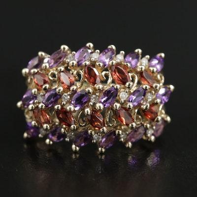 10K Yellow Gold Amethyst, Garnet and Diamond Ring