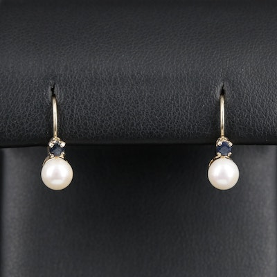 14K Pearl Drop Earrings Accented by Round Faceted Sapphires