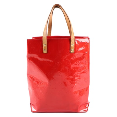 Louis Vuitton Reade MM Bag in Red Vernis Patent and Vachetta Leather