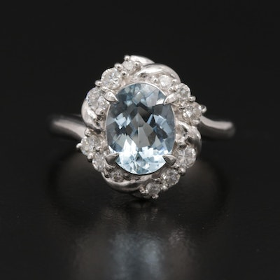 Platinum 1.86 CT Aquamarine and Diamond Ring