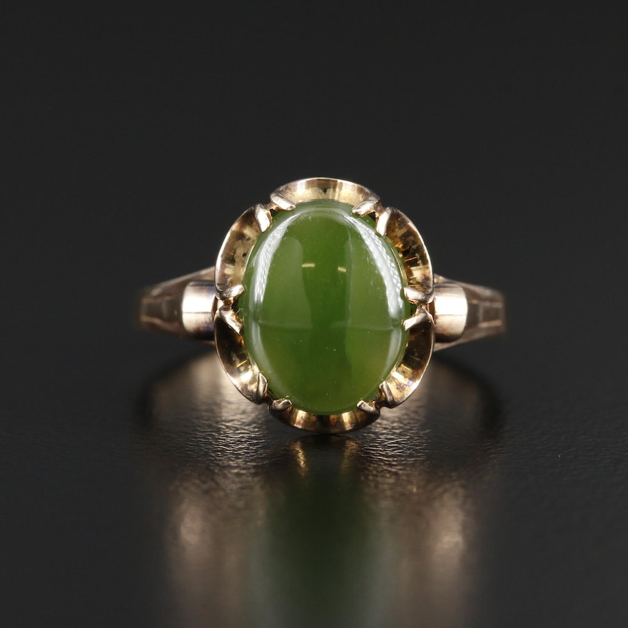 Vintage 9K Yellow Gold Oval Nephrite Cabochon Ring