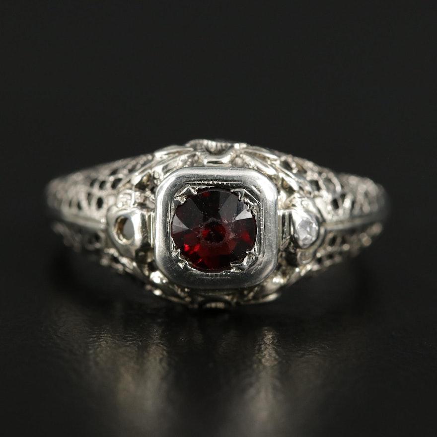 Vintage 18K White Gold Garnet Filigree Ring