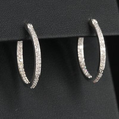 14K Gold Diamond Inside-Out Hoop Earrings