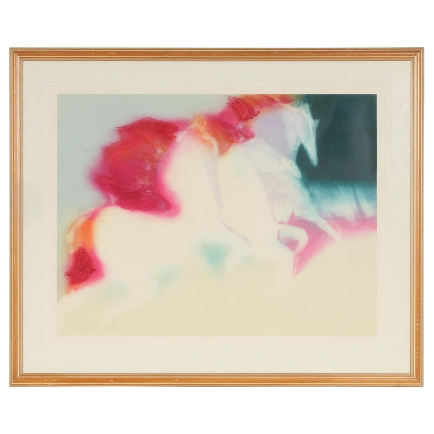 """Jean Richardson Embossed Color Etching """"Pegasus"""", 1989"""