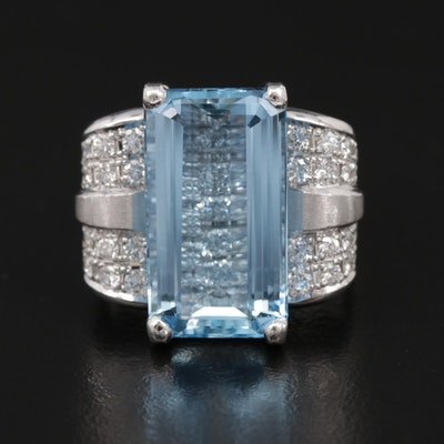Platinum 8.33 CT Aquamarine and Diamond Ring