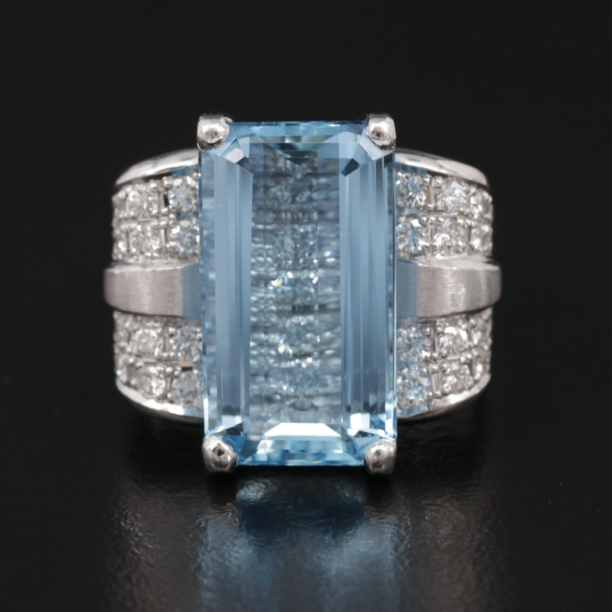 Platinum 8.33 CT Aquamarine and Diamond Ring