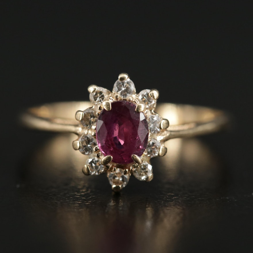 14K Gold Ruby and Diamond Halo Ring