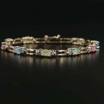 Sterling Silver Imitation Opal Bracelet with Diamond Accents