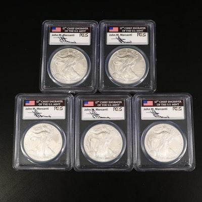Five PCGS Graded MS69 2013 American Silver Eagle Bullion Coins