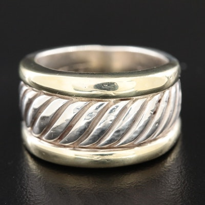 David Yurman Sterling Thoroughbred Cigar Band with 14K Yellow Gold Accents