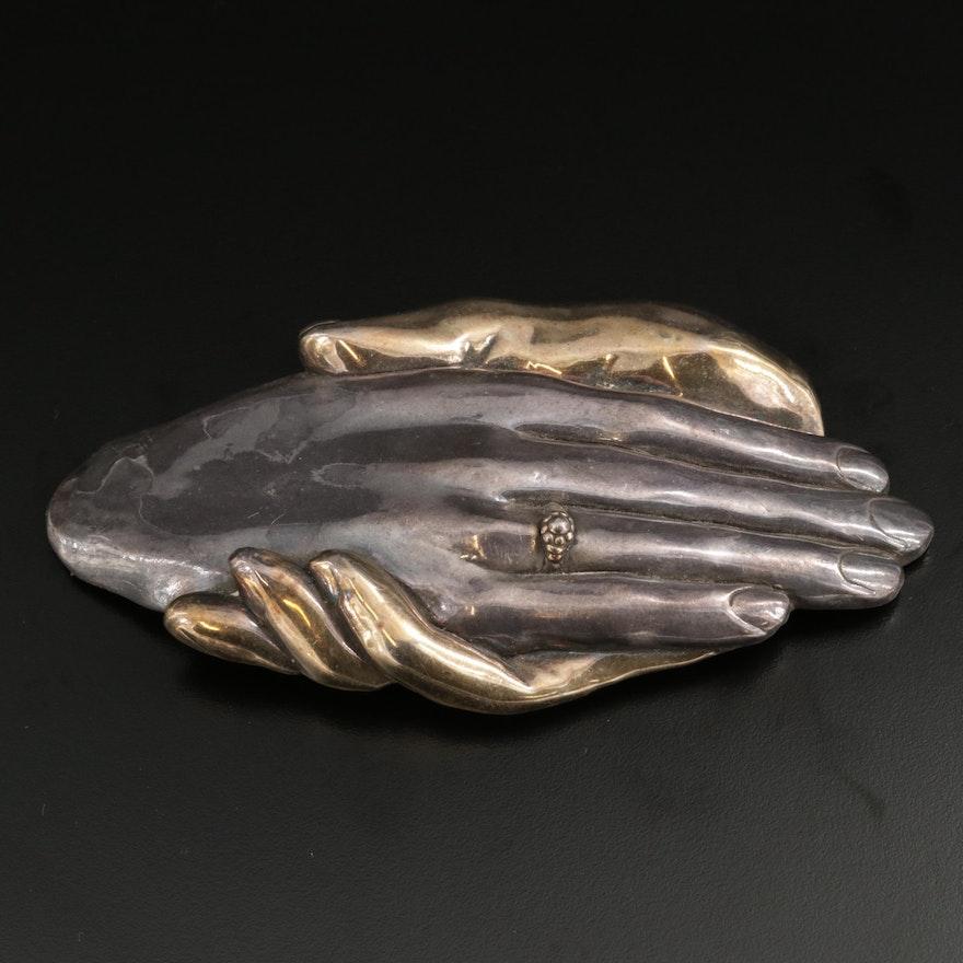"""Yaacov Heller """"Hands"""" Sterling Silver Brooch"""