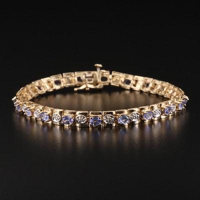 14K Gold Tanzanite and Diamond Bracelet