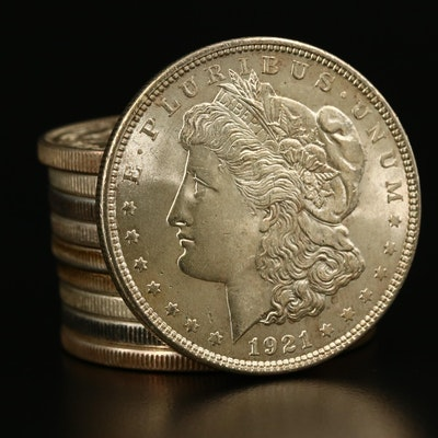 Ten Morgan Silver Dollars From 1921