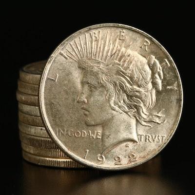 Ten High Grade Peace Silver Dollars