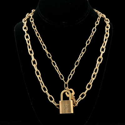Louis Vuitton Padlock and Key on Multistrand Cable Link Necklace