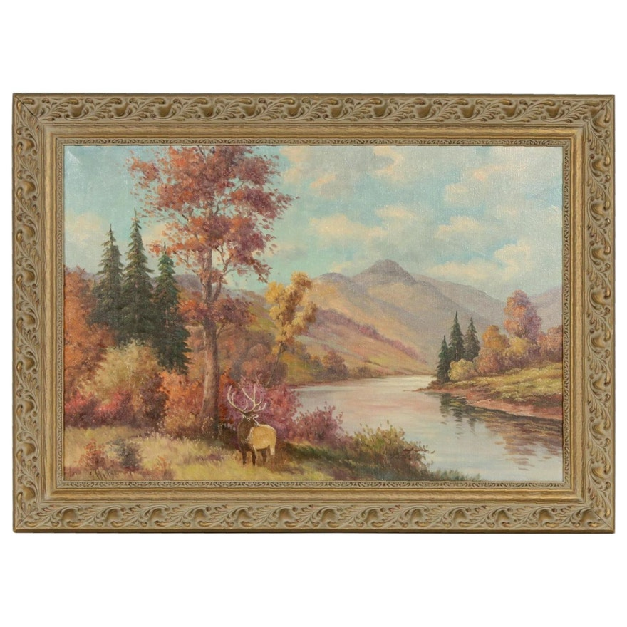 Oil Painting of Mountain Landscape with Elk, Late 20th Century