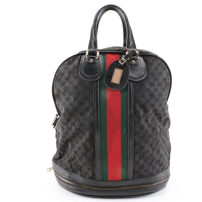 Gucci Webstripe Expandable Travel Duffel in Black GG Canvas and Leather, Vintage