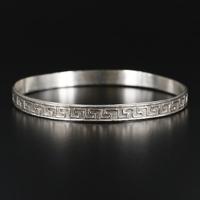 Sterling Silver Greek Key Bangle Bracelet
