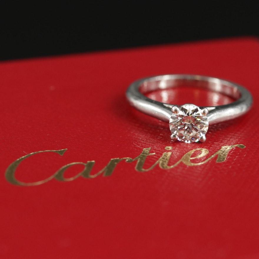 Cartier Platinum 0.61 CT Diamond Ring with GIA Report