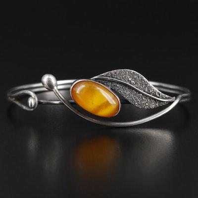 Sterling Silver Leaf Motif Bracelet with Imitation Amber