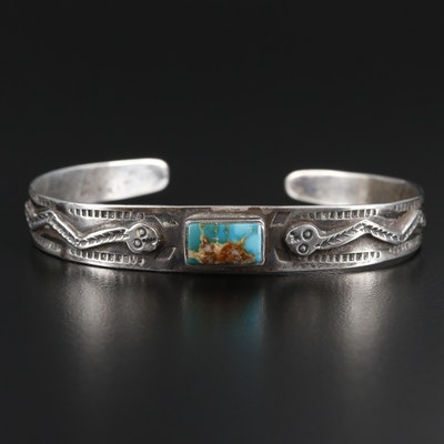 Southwestern Sterling Turquoise Cuff with Snake Motif