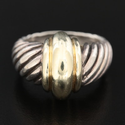 David Yurman Sterling Classic Cable Ring with 14K Yellow Gold Accents