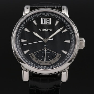 Schweiss Day Date Stainless Steel Quartz Wristwatch