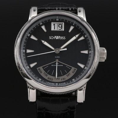 Schweiss Day Date Stainless Steel Quartz Wristwatch