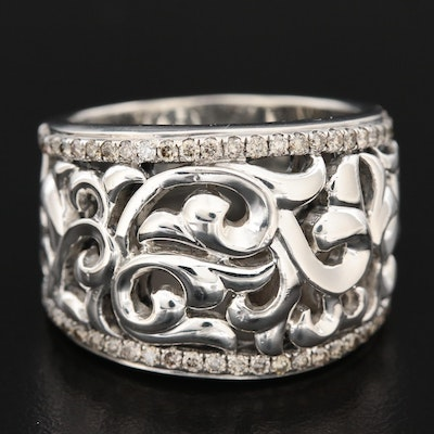 Charles Krypell Sterling Silver Diamond Openwork Band