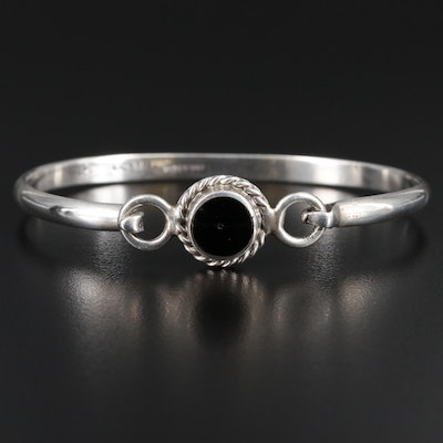 Mexican Sterling Silver Resin Bangle Bracelet