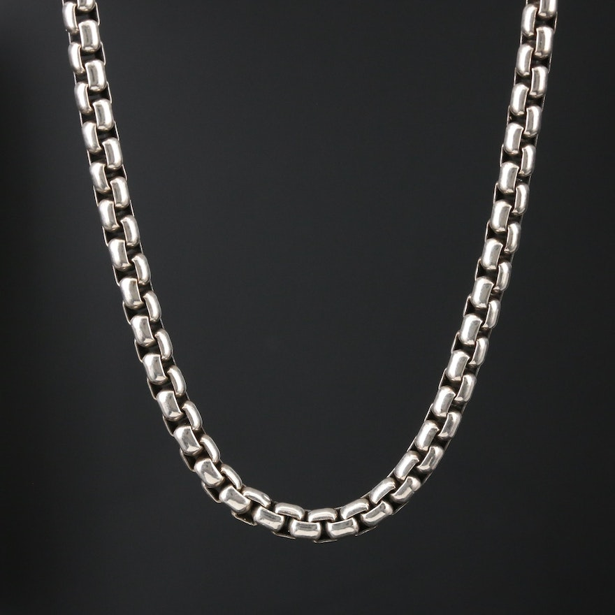 David Yurman Sterling Box Link Necklace with 14K Yellow Gold Accents