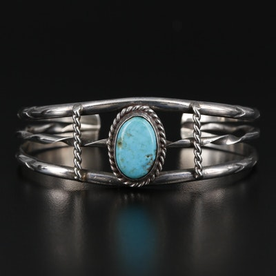 Southwestern Style Sterling Turquoise Openwork Cuff