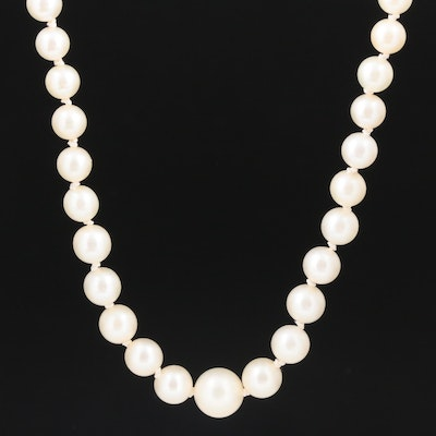 Graduated Pearl Necklace with Vintage Mikimoto Sterling Clasp