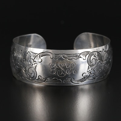 S. Kirk & Son Sterling Silver Etched Cuff Bracelet