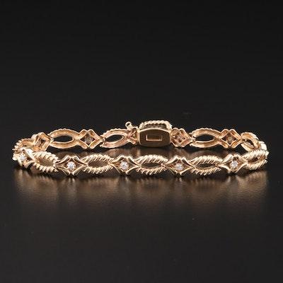 14K Gold Diamond Fluted Link Bracelet