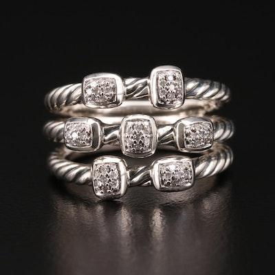 "David Yurman ""Confetti"" Sterling Diamond Triple Cable Ring"