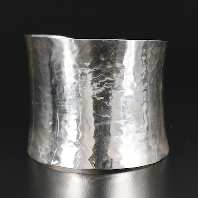 Mexican Sterling Silver Hammered Cuff Bracelet