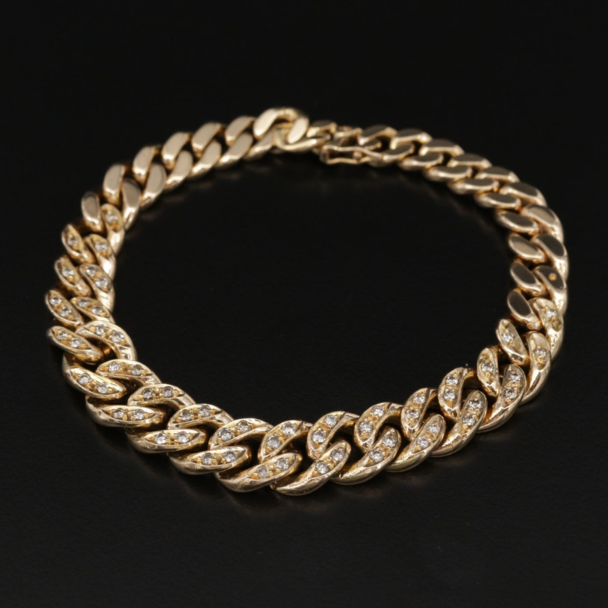 18K Yellow Gold 1.19 CTW Diamond Curb Chain Bracelet