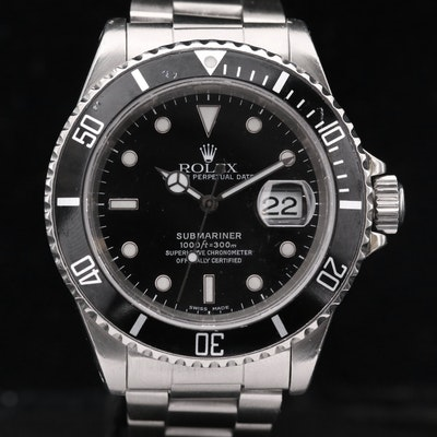 Rolex Submariner 16610 Stainless Steel Automatic Wristwatch, 2000