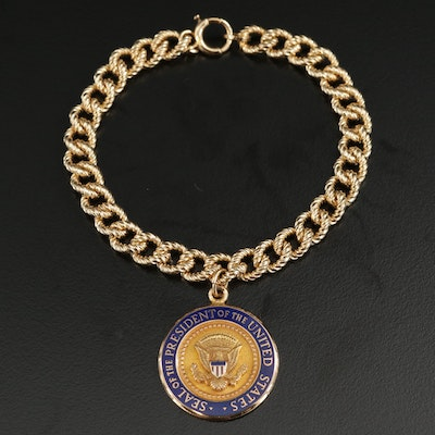 14K Bracelet with Enamel Seal of the President of the USA Charm