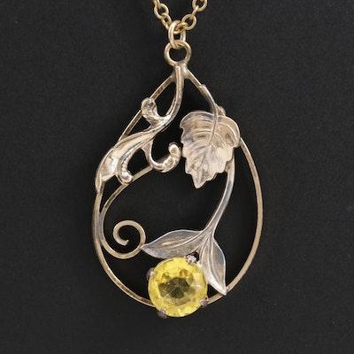 Vintage Sterling Silver Floral Appliqué and Faceted Glass Pendant Necklace