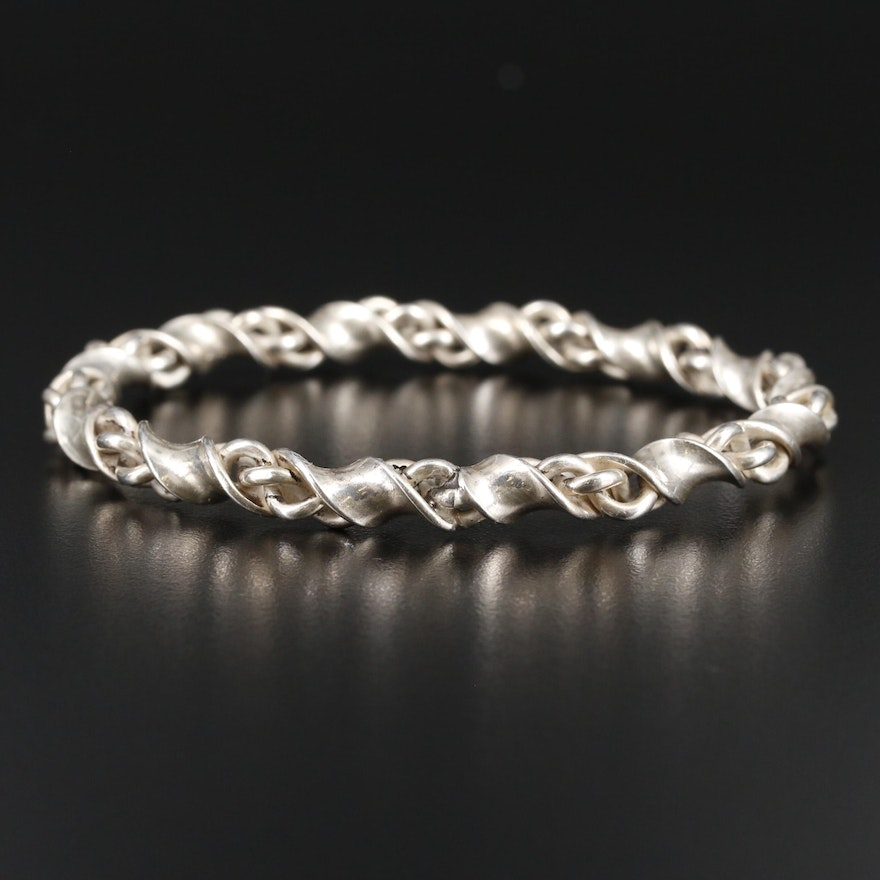 Sterling Silver Braided Bangle Bracelet