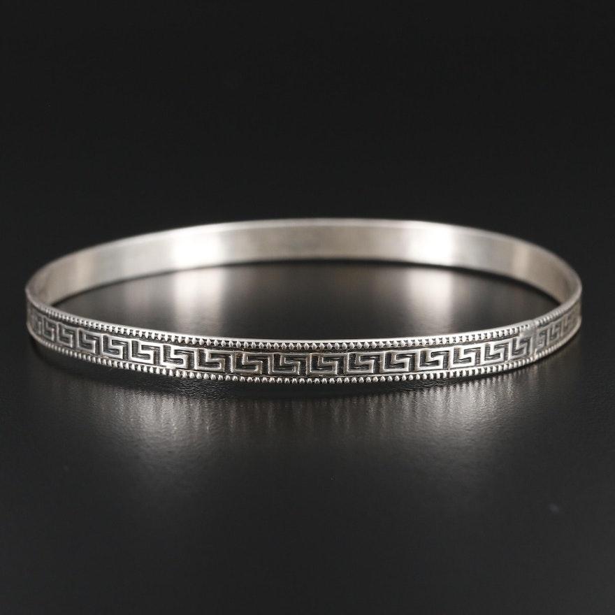 Sterling Silver Greek Key Motif Bangle Bracelet