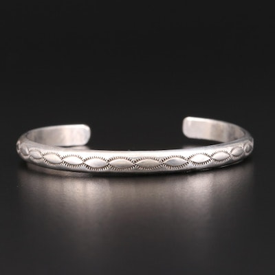 Southwestern Sterling Cuff with Stampwork Design