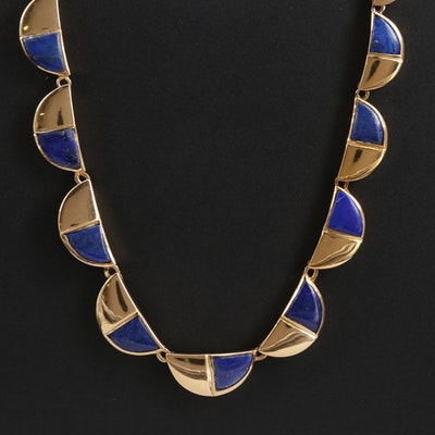 18K Gold Lapis Lazuli Graduated Link Necklace
