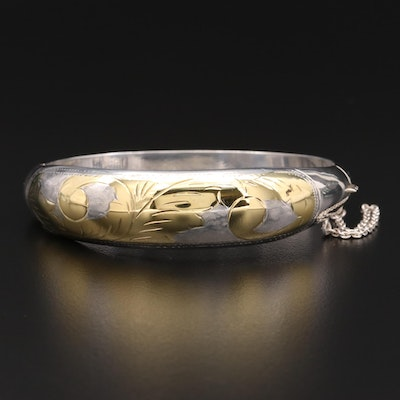 Sterling Silver Engraved Foliate Motif Tapered Bangle