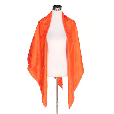 Hermès Paris Orange Silk Shawl in Equestrian Saddle Bridle Motif