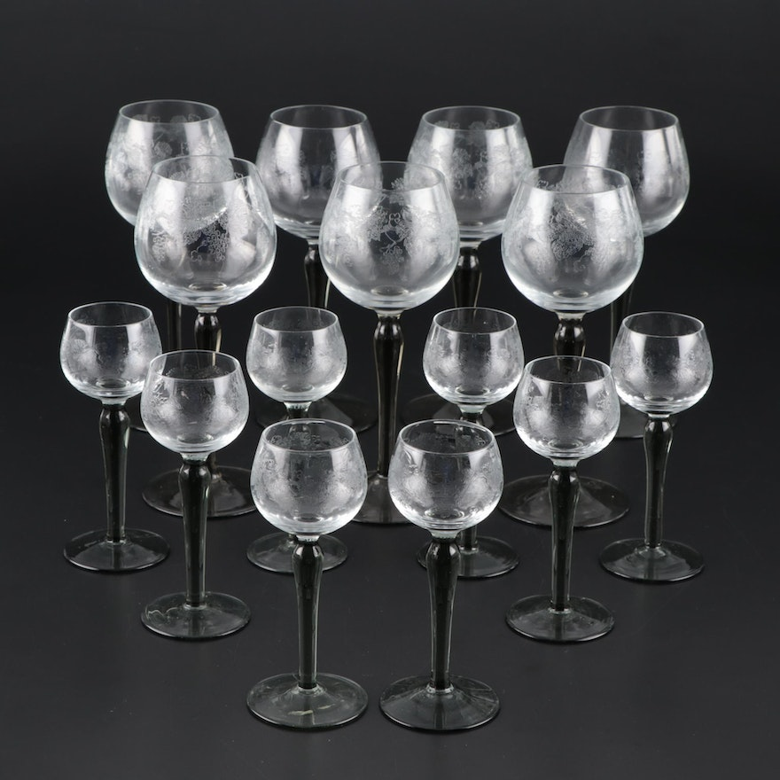 Crystal Grapevine Pattern Drinkware with Smoke Stems