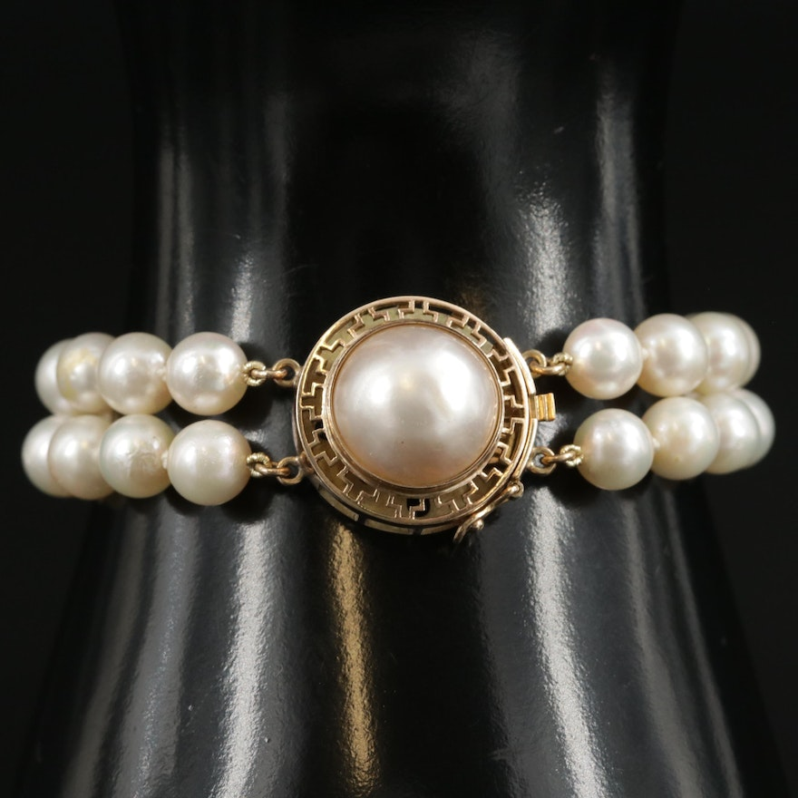 Vintage Double Strand Pearl Bracelet with 14K Gold Mabé Pearl Clasp