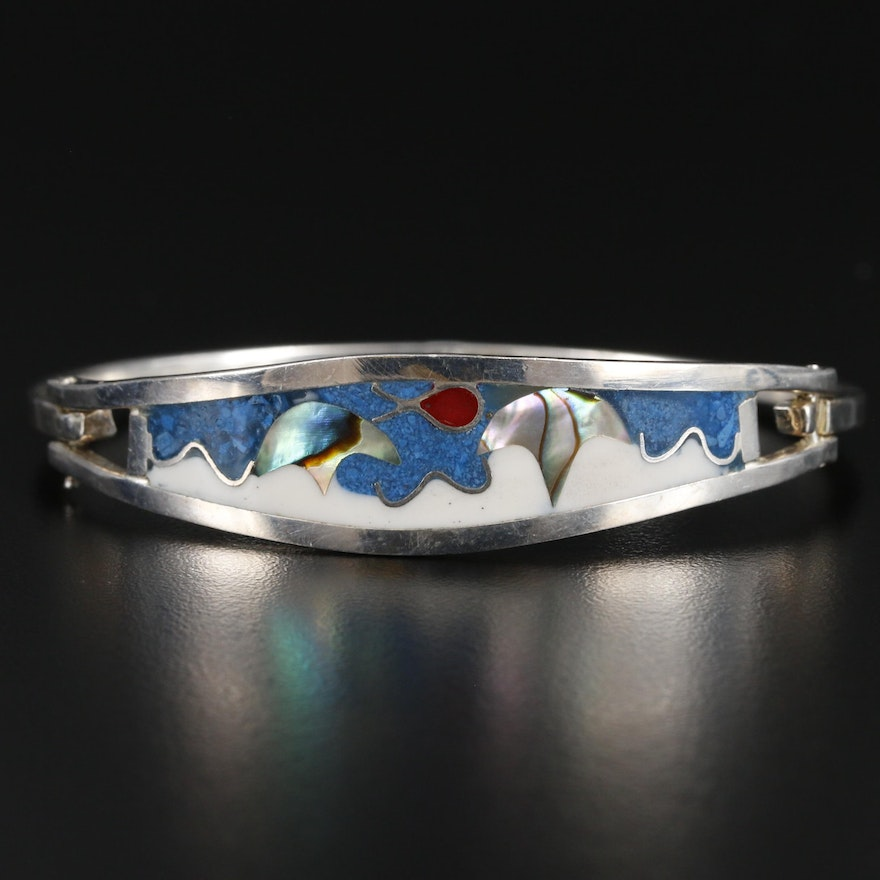 Mexican Sterling Silver Abalone and Resin Bracelet